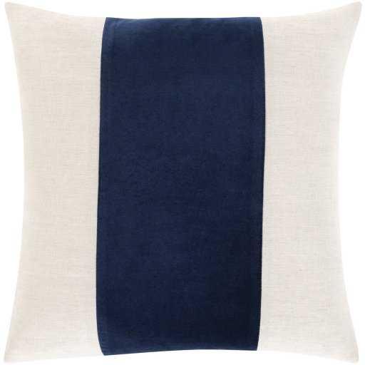 "Mina Pillow Cover, 22""x 22"", Navy - Studio Marcette"