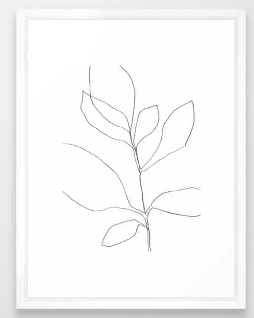 Seven Leaf Plant - Minimalist Botanical Line Drawing Framed Art Print - Society6