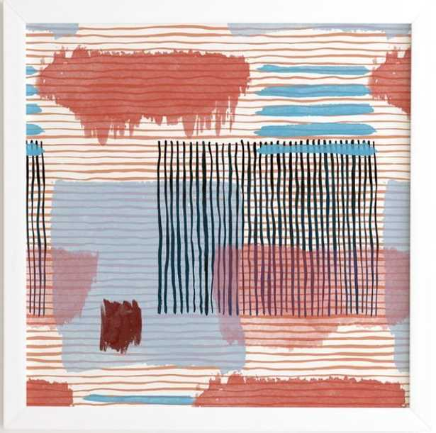 """ABSTRACT STRIPED GEO RED - 30"""" x 30"""" - Wander Print Co."""