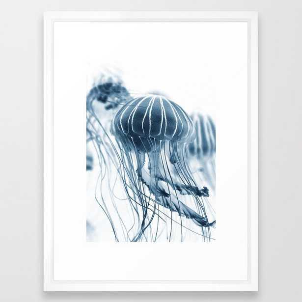 "Wall Art - Jellyfish Circus Plume - Framed Print Vector White - 20"" X 26"" - Society6"