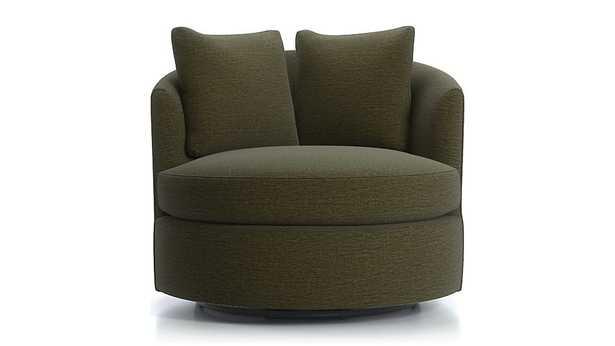 Tillie Swivel Chair - Darius, Avocado - Crate and Barrel