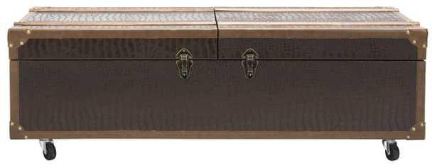 Zoe Coffee Table Storage Trunk With Wine Rack - Brown - Arlo Home - Arlo Home