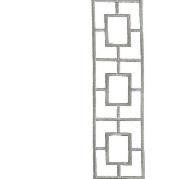 "Ballard Designs Embroidered Square Trellis Panels - Set of 2 Gray 108"" - Ballard Designs"