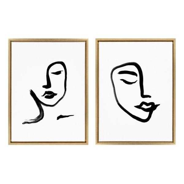 Sylvie Woman Face Art & Face Line Print 24 in. x 18 in. by Viola Kreczmer Framed Canvas Wall Art - Home Depot