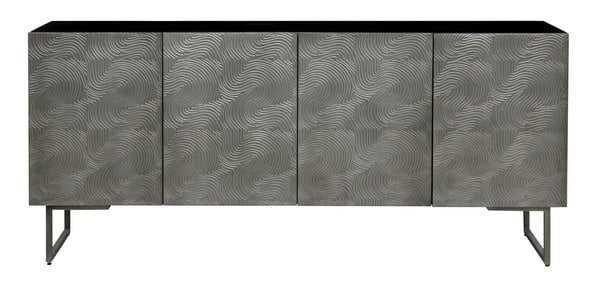 Boone Abstract Wave 4 Door Sideboard - Brown/Silver - Arlo Home - Arlo Home