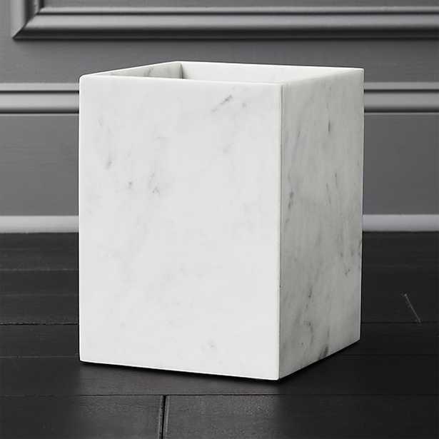 White Marble Wastebasket - CB2