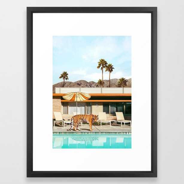 Pool Party Tiger Framed Art Print - 20x26, vector black frame - Society6