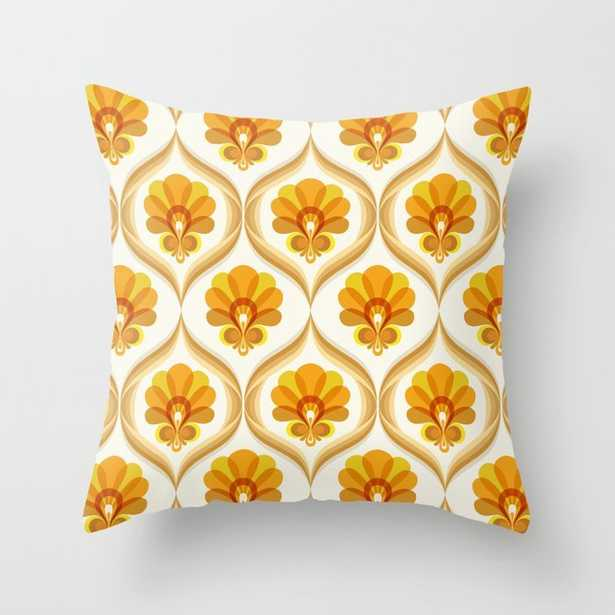 Ivory, Orange, Yellow and Brown Floral Retro Vintage Pattern Throw Pillow - Society6