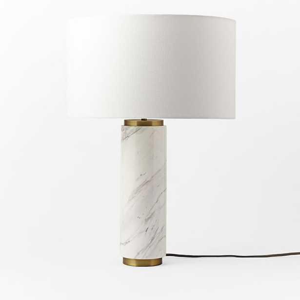 Pillar Table Lamp + USB, Marble-Individual - West Elm