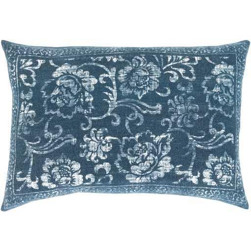"Laurel Lumbar Pillow, 16""x 24"", Blue - Cove Goods"