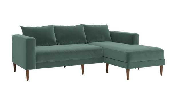 The Essential Sectional, Seafoam Recycled Velvet, Dark Brown Legs - Sabai Design