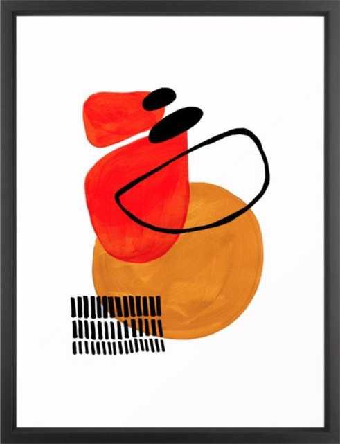 Mid Century Modern Abstract Vintage Pop Art Space Age Pattern Orange Yellow Black Orbit Accent Framed Art Print - Society6