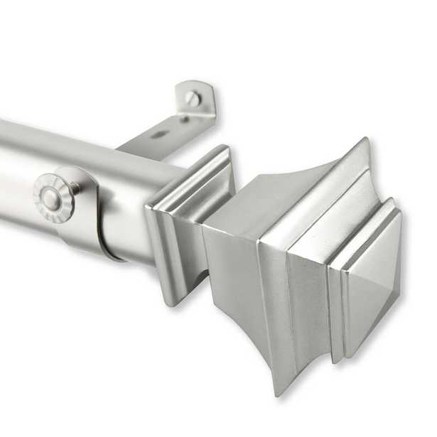 """Bach 1.5 in. Non-Telescoping Single Curtain Rod 13 ft. in Satin Nickel / 156""""W - Home Depot"""