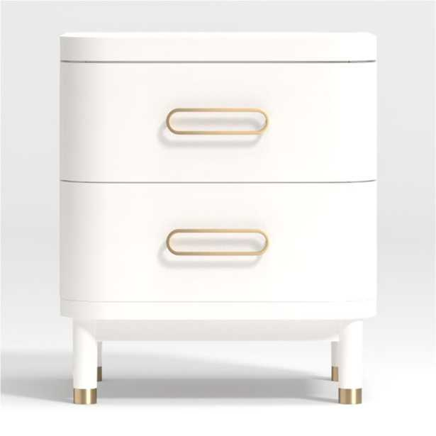 Kids Arlo White and Gold Nightstand - Crate and Barrel