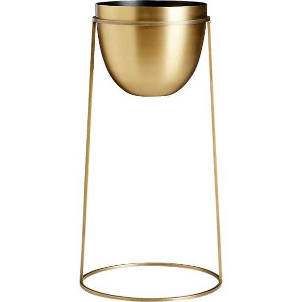 milo brass planter on stand large - CB2