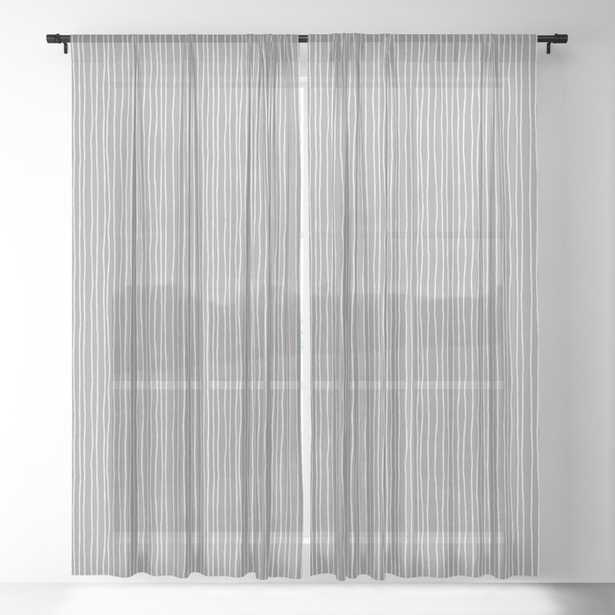 """Window Curtains - Platinum Lines Never Fail - Dark Gray Sheer Curtain - 84""""x50"""" - Set of Two - Society6"""