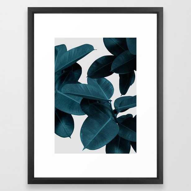 Indigo Blue Plant Leaves Framed Art Print - Society6