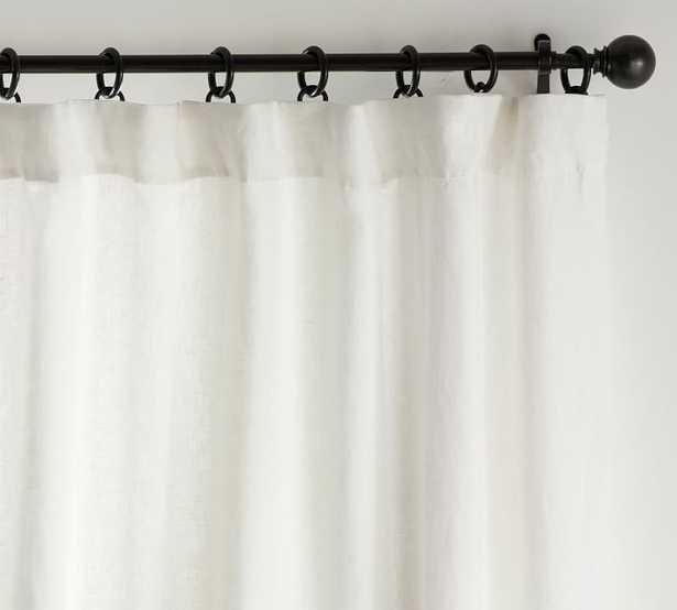"Custom Classic Belgian Flax Linen Rod Pocket Blackout Curtain, 54 x 126"", Classic Ivory - Pottery Barn"