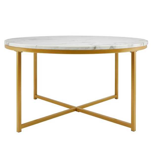 Spratt Cross Legs Coffee Table / Gold - Wayfair