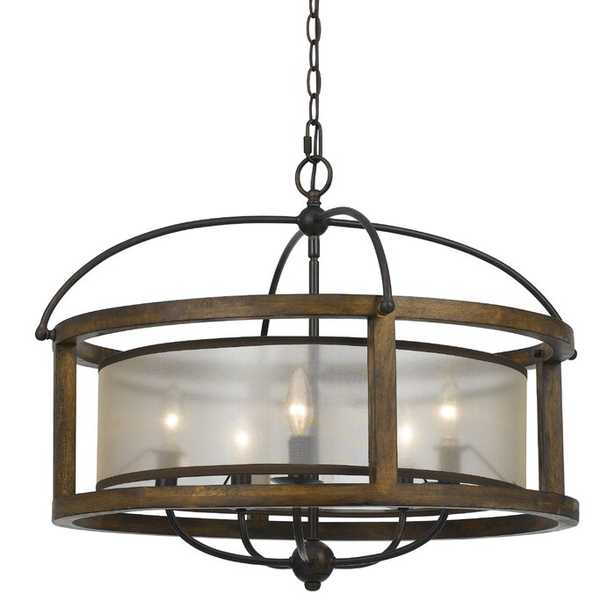 Aadhya 5 - Light Candle Style Drum Chandelier with Wood Accents - Birch Lane