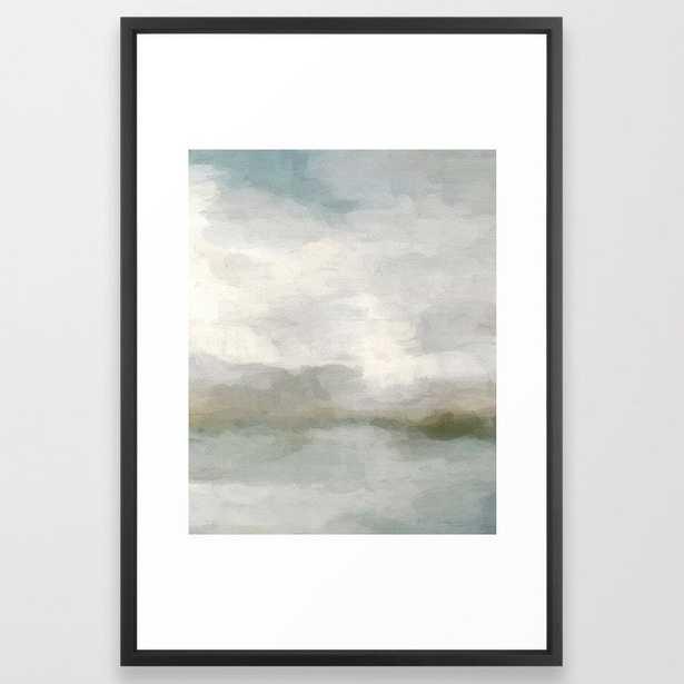 Modern Abstract Painting, Light Teal, Sage Green, Gray Cloudy Weather Digital Prints Wall Art, Ocean Framed Art Print - Vector Black - Society6