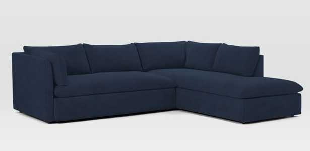 Shelter Set 2- Right Arm Terminal Chaise, Left Arm Sofa, Performance Velvet, Ink Blue - West Elm