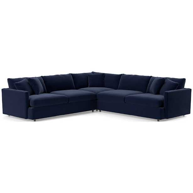 Lounge II 3-Piece Sectional Sofa - View, Navy - Crate and Barrel