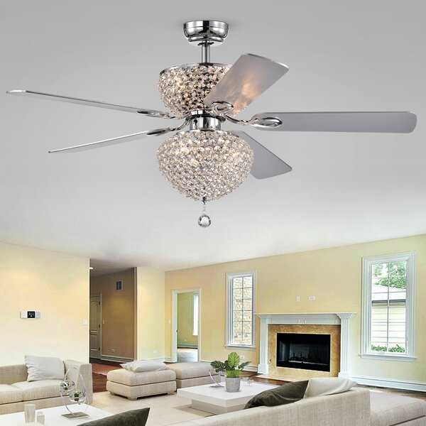 "52"" Northome 5 Blade Ceiling Fan, Light Kit Included, Chrome - Wayfair"