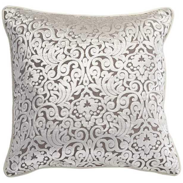 "Ivory Cut Velvet 20"" Square Throw Pillow - Lamps Plus"