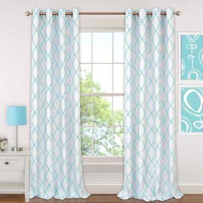 Ashby Geometric Blackout Grommet Curtain Panels - Wayfair