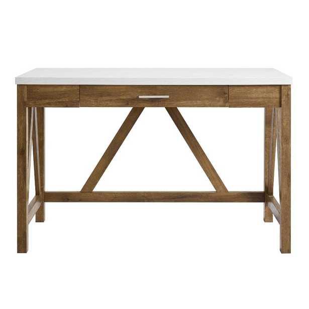 Ocilla Desk / White Marble Top/ Natural Walnut Base - Wayfair