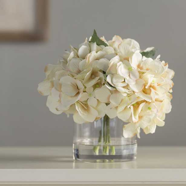 Hydrangea in Water Floral Arrangement in Glass Vase - Wayfair