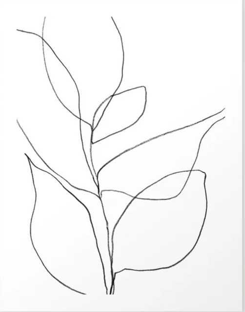 """Minimalist Line Art Plant Drawing Art Print (17"""" x 21"""") - Society6"""