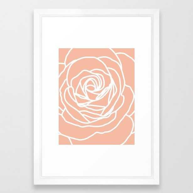 Peach Rose Framed Art Print - Society6