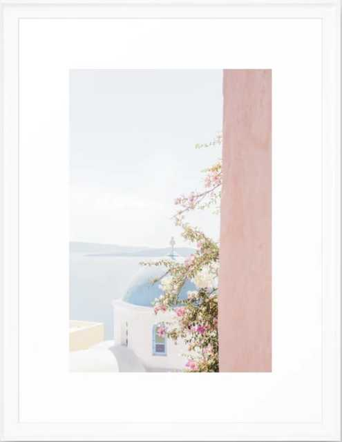 Greek Blue Church Framed Art Print - Society6