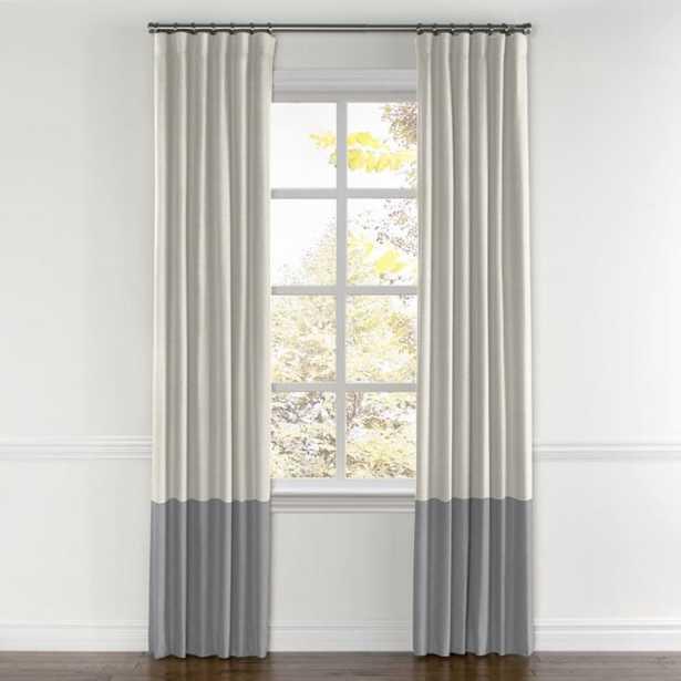 Convertible Drapery Classic Linen Pair Split draw- Heathered Flax trim-bottom color block Cement - Loom Decor