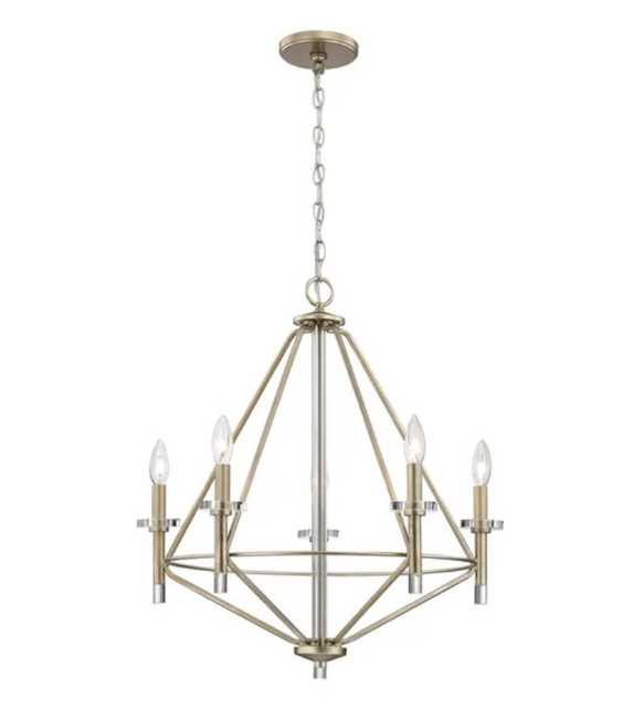 LACOMBE 5-LIGHT CHANDELIER IN AGED SILVER WITH CLEAR GLASS ACCENTS - Rosen Studio