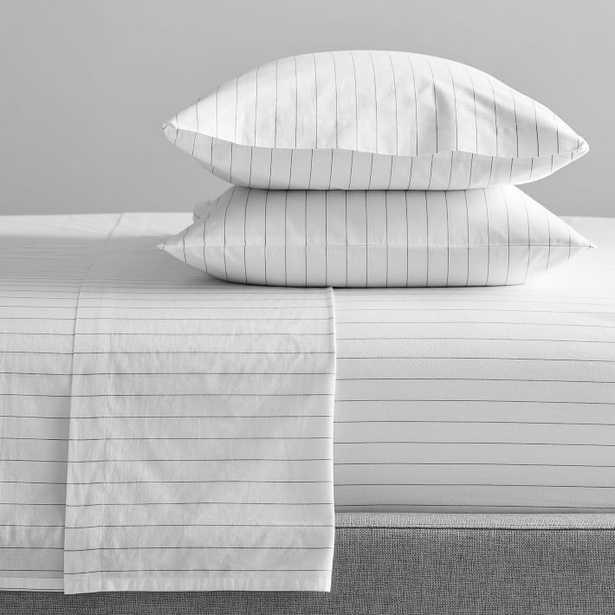 Organic Washed Cotton Stripe Sheet Set, Queen, Slate - West Elm