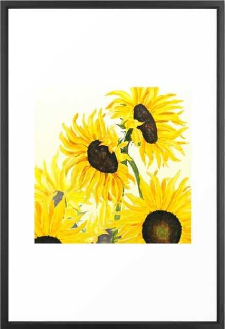 sunflower watercolor 2017 Framed Art Print - Society6