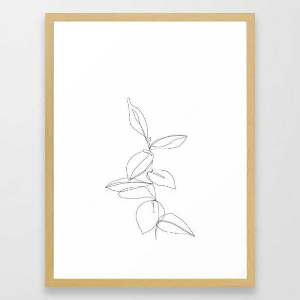 One line minimal plant leaves drawing - Berry Framed Art Print by Thecolourstudy - Society6