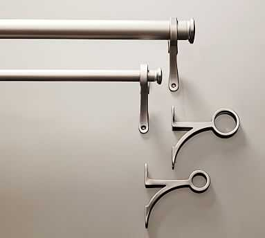"PB Standard Drape Rod & Wall Bracket, .75"" diam., Medium, Pewter Finish - Pottery Barn"