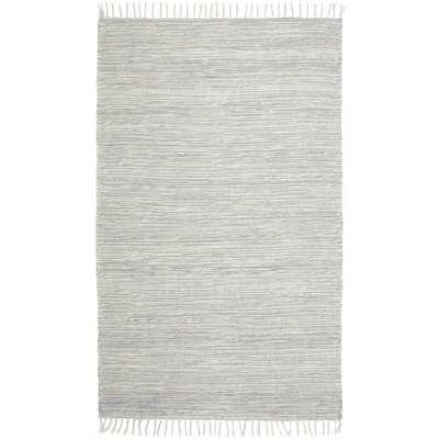 Rectangle 8' x 10' Parley Striped Chenille Handwoven Flatweave Cotton Gray/White Area Rug - Wayfair