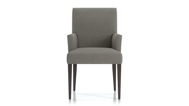Miles Upholstered Dining Arm Chair - Tobias, Gravel - Crate and Barrel