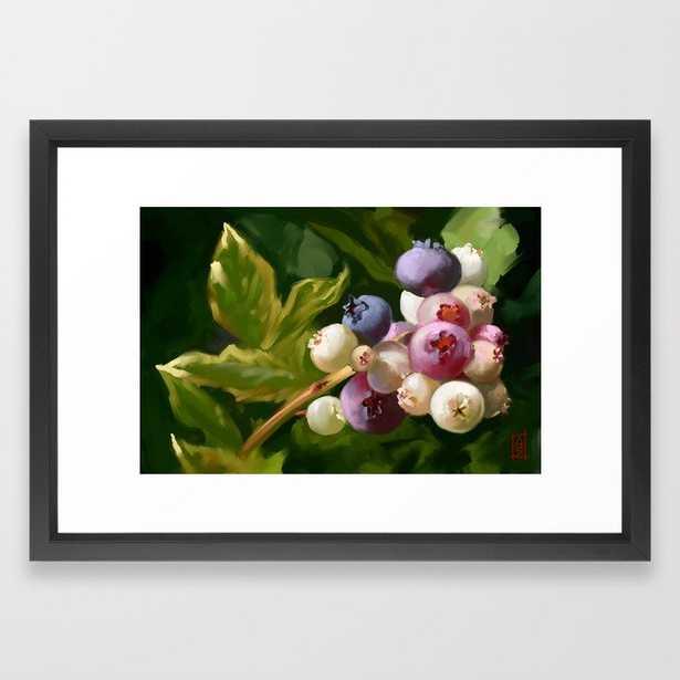 """Blueberries Framed Art Print - 15"""" x 21"""" - Vector Black - Society6"""