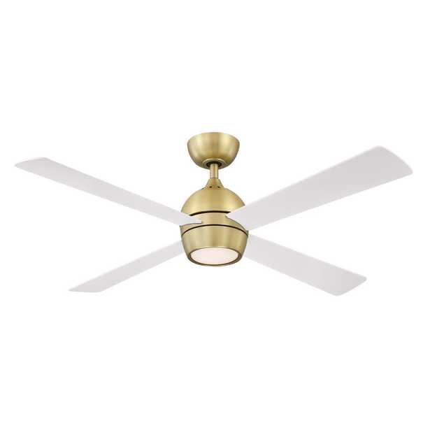Kwad 52 in. Integrated LED Brushed Satin Ceiling Fan with Opal Frosted Glass Light Kit and Remote Control - Home Depot