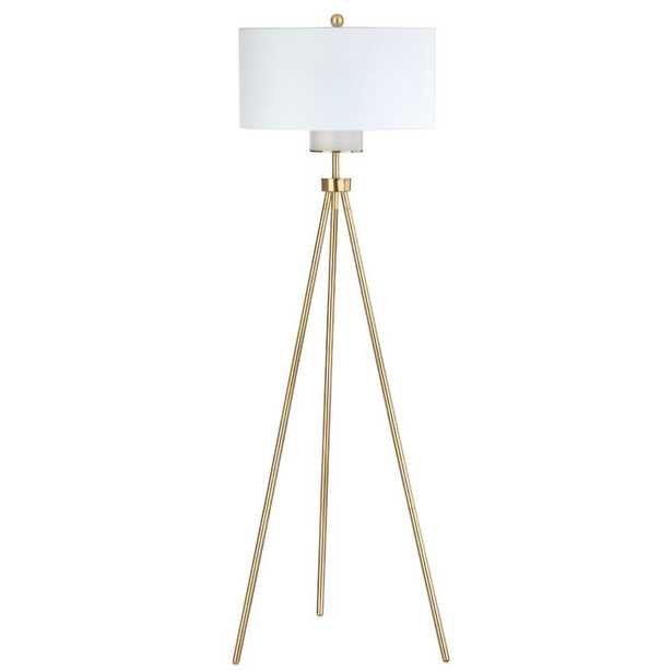 Safavieh Enrica 66 in. Brass/Gold Floor Lamp with Off White Shade - Home Depot