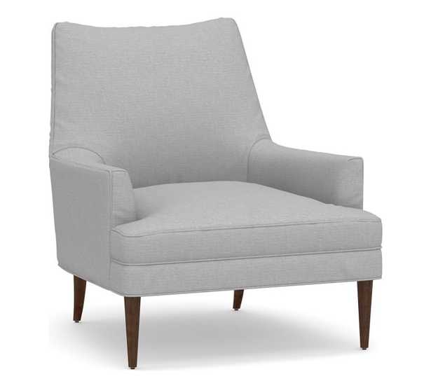 Reyes Upholstered Armchair, Polyester Wrapped Cushions, Brushed Crossweave Light Gray - Pottery Barn