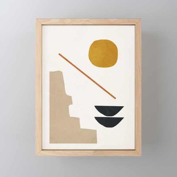 "abstract minimal 6 Framed Mini Art Print, 3"" X 4"", Light Wood - Society6"