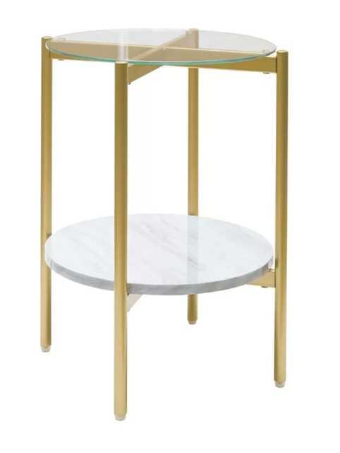 Burritt Glass Top End Table with Storage - Wayfair
