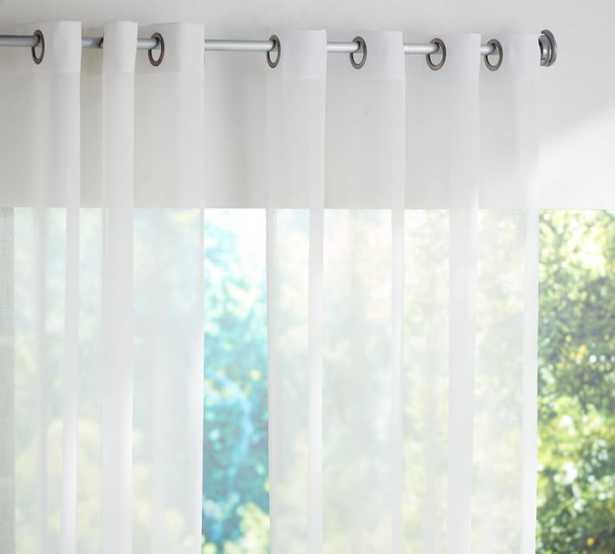 """OUTDOOR OPEN WEAVE SHEER CURTAIN, 108"""", WHITE - Pottery Barn"""